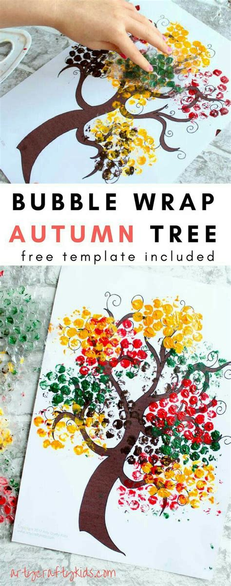 bubble wrap autumn tree crafts  kids fall crafts