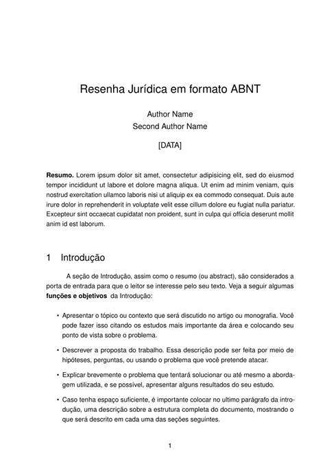 modelo de artigo em word nas normas da abnt 2016 como resenha jurídica em formato abnt fastformat