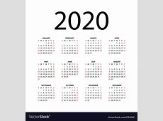 Calendar for 2020 Royalty Free Vector Image VectorStock