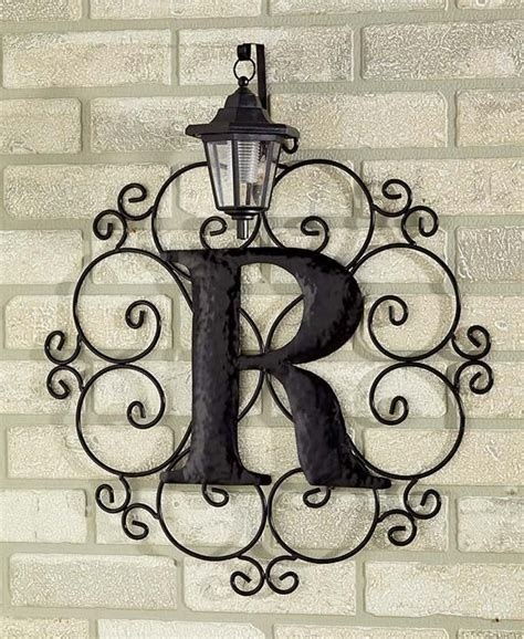 metal monogram solar light wall art hanging decor scrollwork frame  letters outdoor wall art