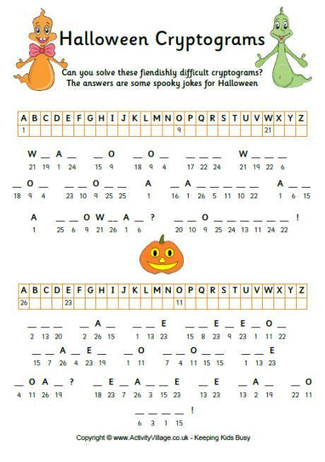halloween cryptograms   images halloween puzzles