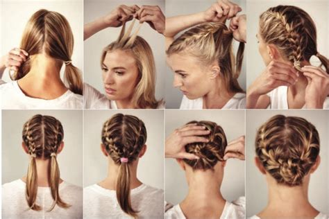 race day    double french braid women