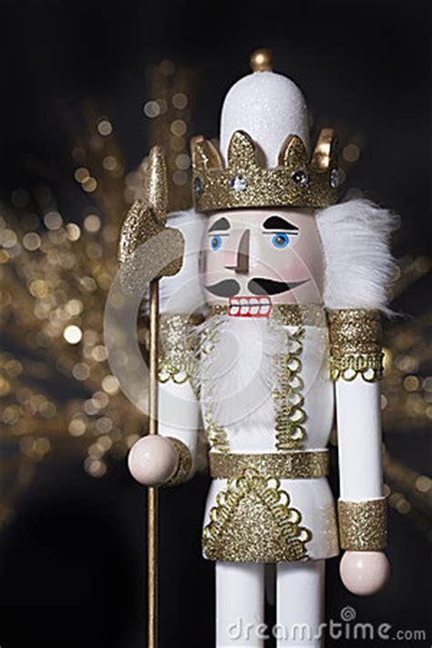 christmas white gold nutcracker stock photo image