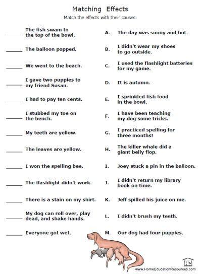effect worksheets frans freebies