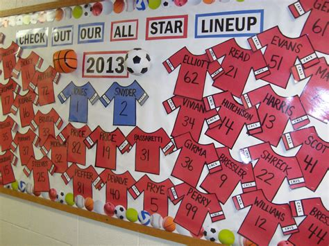 best christmas themed team names sports bulletin board using students last names on jersey team sports theme