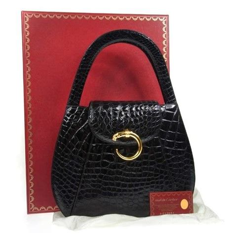 auth cartier panther hand bag black gold crocodile leather