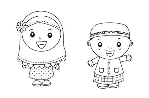 Remaja pun tidak mau kalah dengan masih mencari photo sketsa untuk dijadikan display picture di. Gambar Mewarnai Anak Muslim Untuk Anak PAUD dan TK