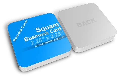 square business card mockup cover actions premium