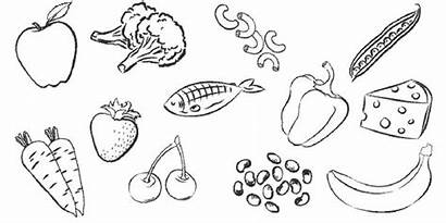 Healthy Coloring Drawing Pages Clipart Foods Health