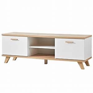 Meuble TV scandinave 2 tiroirs 144x40cm Malmo