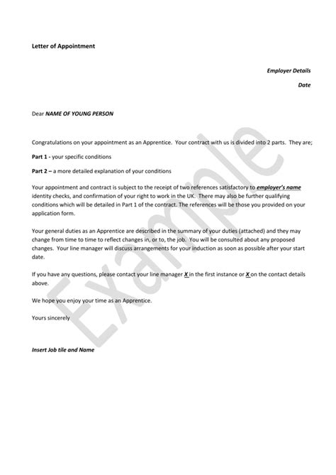 Letter of appointment and employment contract (Word, 97KB)