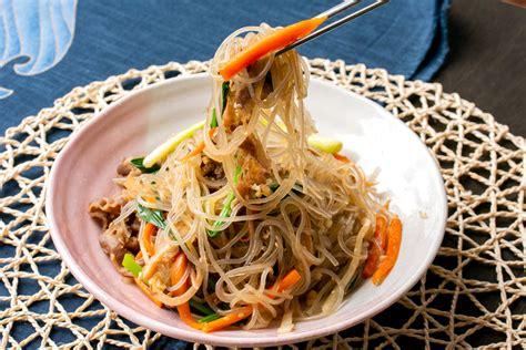 korean stir fried noodles  beef  vegetables