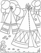 Coloring Teepee Pages Native American Indian Getdrawings sketch template