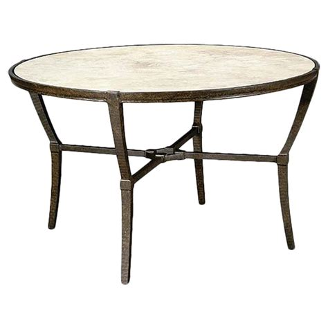 round metal outdoor table jane modern french stone top metal outdoor round dining