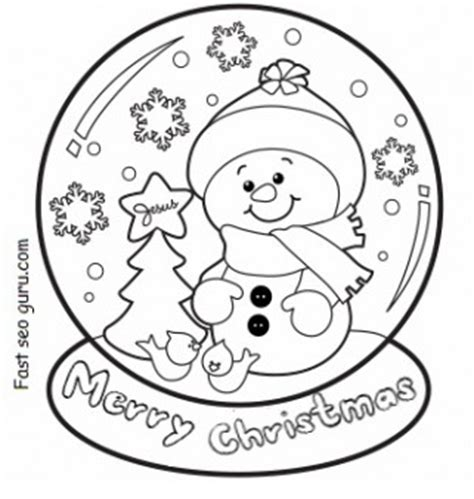 christmas snow globe whit snowman coloring pages  printable coloring pages  kids
