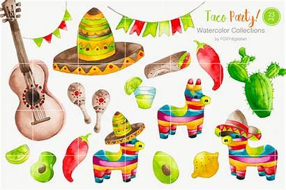 Clipart Mexican Taco Watercolor Cart Thehungryjpeg Graphics