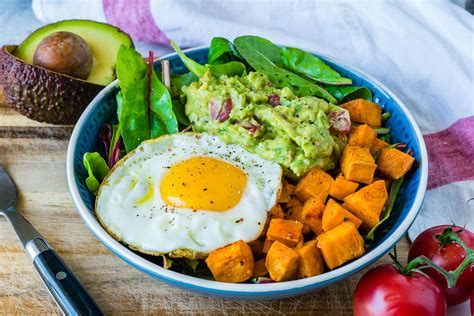 Clean Eating Guacamole, Egg + Sweet Potato Breakfast Bowls