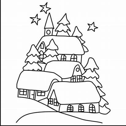 Scenery Outline Drawing Sketch Landscape Nature Coloring