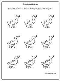 ducks count  colour worksheetsdownloadable activity