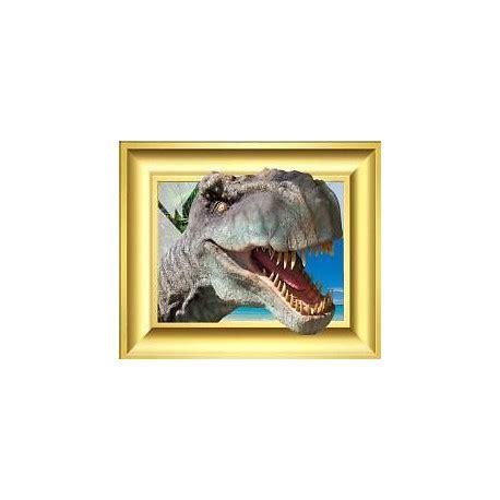 sticker trompe l oeil dinosaure cadre dor 233 60x50cm stickers muraux deco