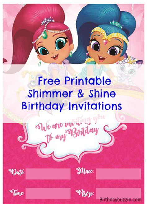 shimmer and shine invitation template free free printable shimmer and shine birthday invitations birthday buzzin
