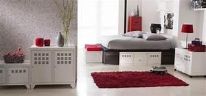 deco chambre gris blanc rouge With deco chambre gris blanc