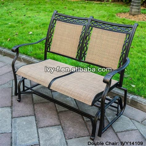 cast aluminum rocking chair loveseat glider bench in sling