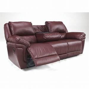 Ashley magician leather reclining sofa with drop down for Sectional sofa with drop down table