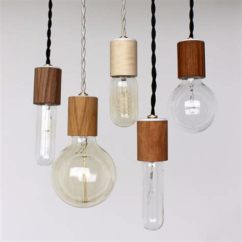 wood veneered pendant light with bulb by onefortythree
