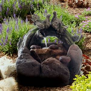 Outdoor, Water, Fountain, With, Cascading, Stone, Waterfall, Wood, Logs, Doves, And, Soothing, Sound, For