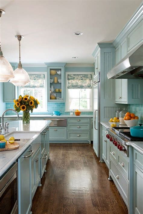 pretty paint colors for kitchens blue kitchen cabinets 2017 7579