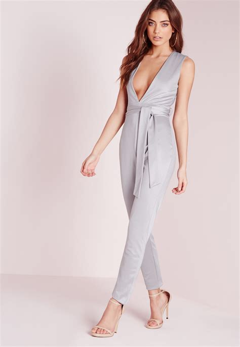 grey jumpsuit womens missguided tie waist sleeveless jumpsuit grey in gray lyst