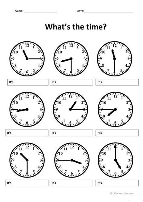write  correct time worksheet  esl printable