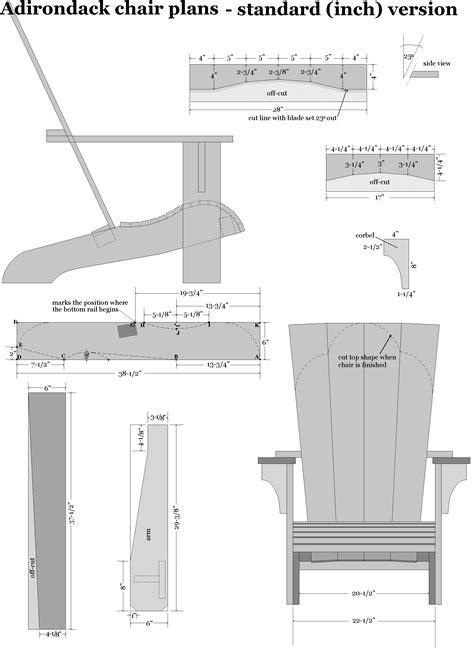 adirondack chair plans  standard  dimensions