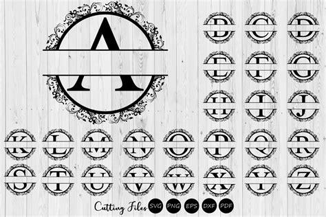 split letters floral monogram alphabet svg commercial
