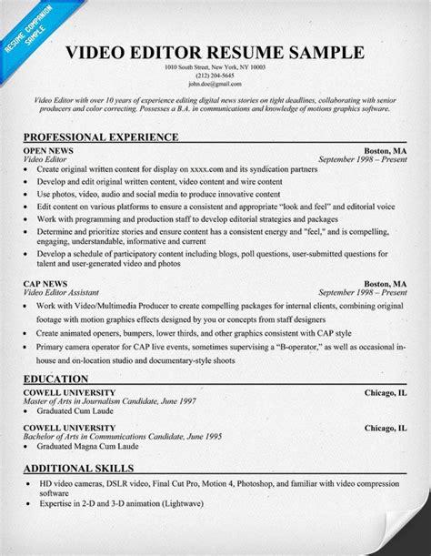 video editor resume  resumecompanioncom
