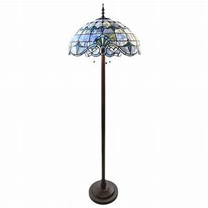 River of goods 64 in blue indoor floor lamp with stained for Floor lamp with blue glass