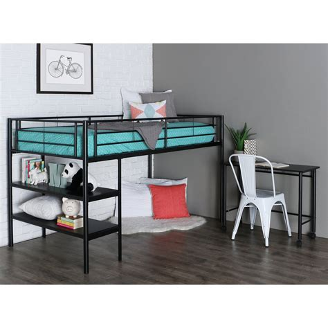 Loft Bed by Black Loft Bed With Desk And Shelves Bunk Beds