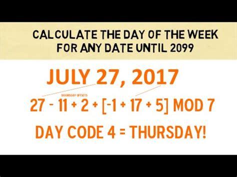 calculate day week date youtube