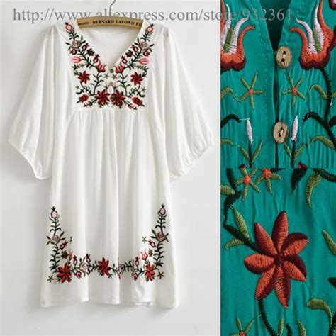 vintage 70s mexican floral embroidery boho blouse