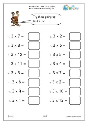 table     multiplication maths worksheets