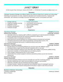 Operations Manager Resume Example Management Sample
