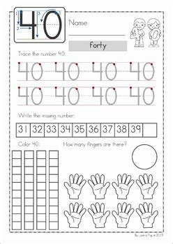 number concepts 21 40 worksheets by lavinia pop tpt