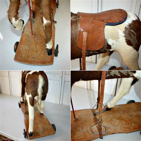 rare french antique toy horse  hide leather saddle
