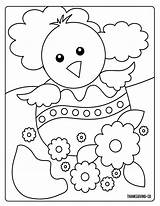Coloring Easter Egg Chick Spring Sunny Monster sketch template