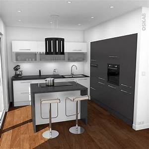 cuisine design avec ilot central blanche et grise oskab With cuisine design avec ilot central