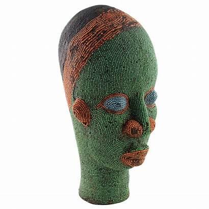 Head Clay African Sculpture Beaded Skulptur Glasperlen