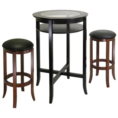 winsome 174 glass top pub table with 2 swivel stools 151423