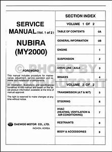 2000 Daewoo Nubira Repair Shop Manual Original 2 Volume Set
