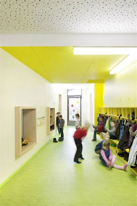 tectum concealed corridor ceiling panels kindergarten lichtenbergweg coat hooks cubbies window